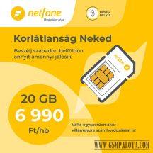 Netfone lakossági sim kártya korlátlan korlátlan beszélgetés, 20GB adatforgalmi kerettel