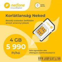 Netfone lakossági sim kártya korlátlan korlátlan beszélgetés, 4GB adatforgalmi kerettel