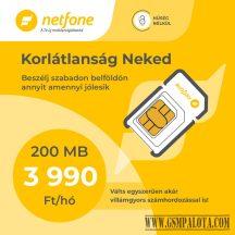 Netfone lakossági sim kártya korlátlan beszélgetés, korlátlan adatforgalmi kerettel
