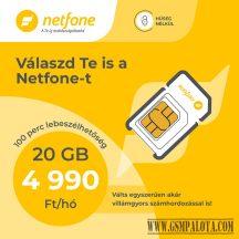 Netfone lakossági sim kártya korlátlan korlátlan beszélgetés, 200MB adatforgalmi kerettel